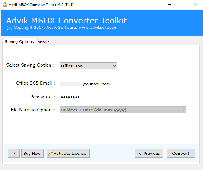 upload mbox to office 365