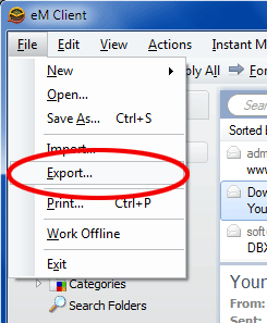 export em client emails to outlook