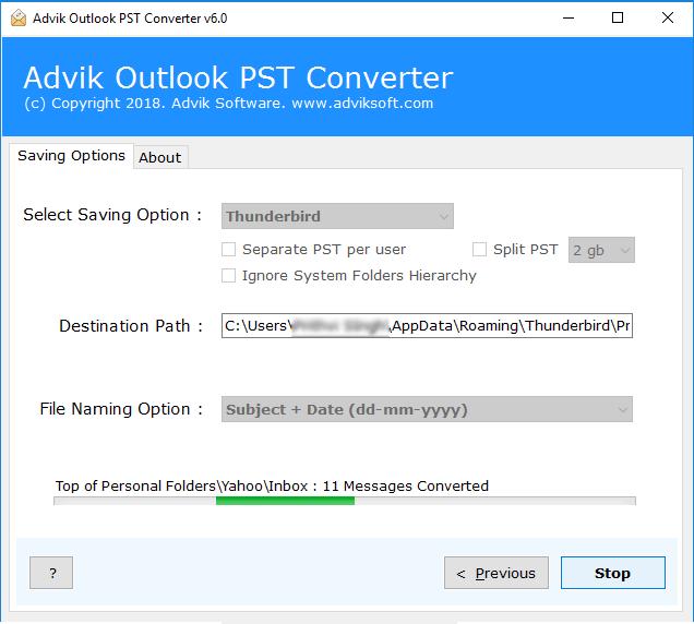 import Outlook to Thunderbird
