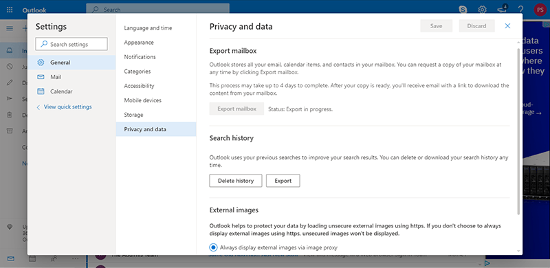 export pst from office 365