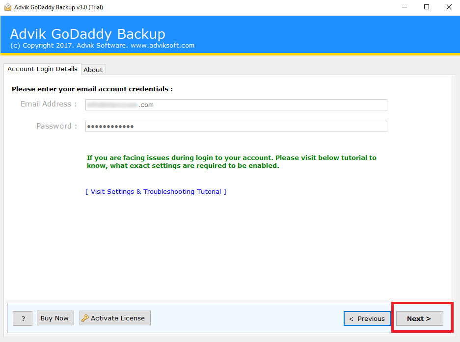 export godaddy emails to pst