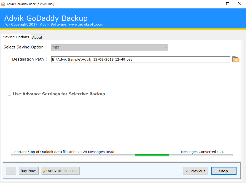 convert godaddy emails to pst file