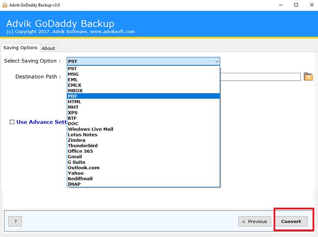 GoDaddy emails to PDF