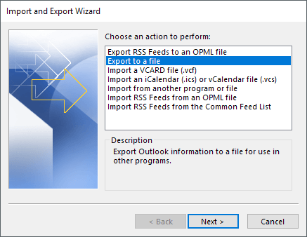 export outlook contacts to csv file