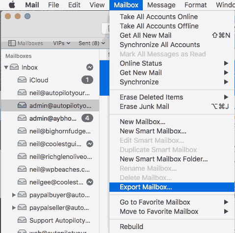 export mbox from apple mail