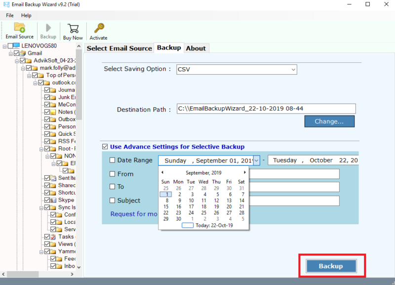 export gmail emails to csv