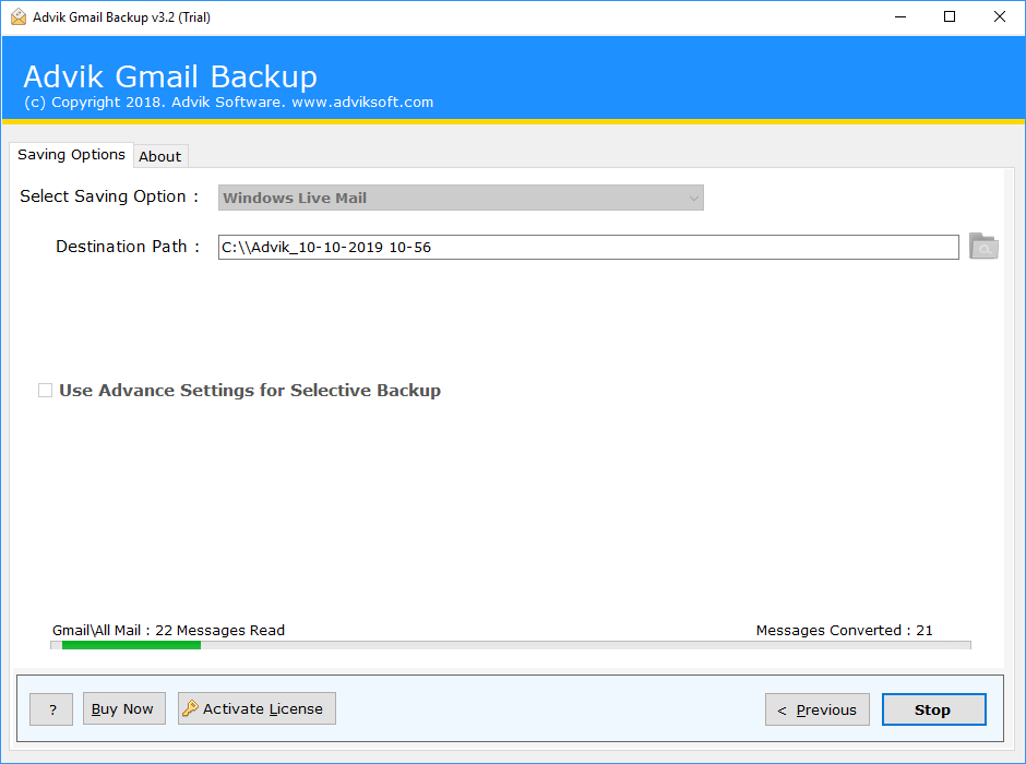 transfer gmail emails to windows live mail