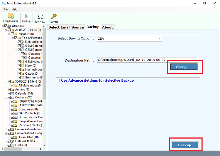export office 365 emails to csv