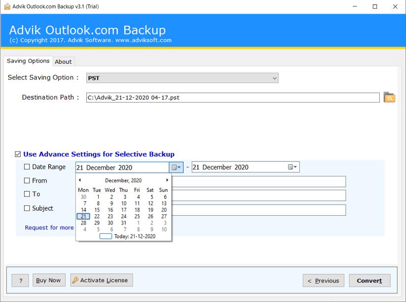backup hotmail email folder