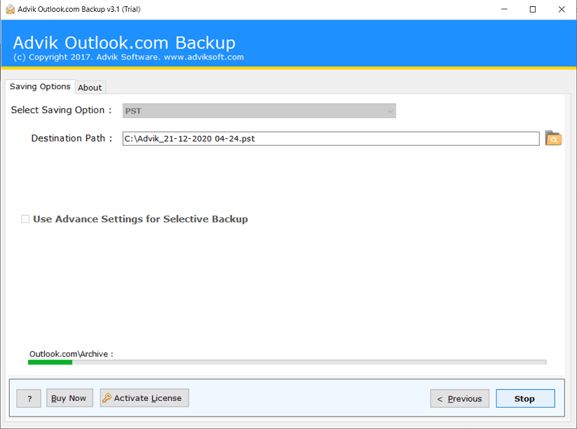 hotmail email backup