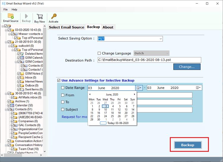 exchange email backup software