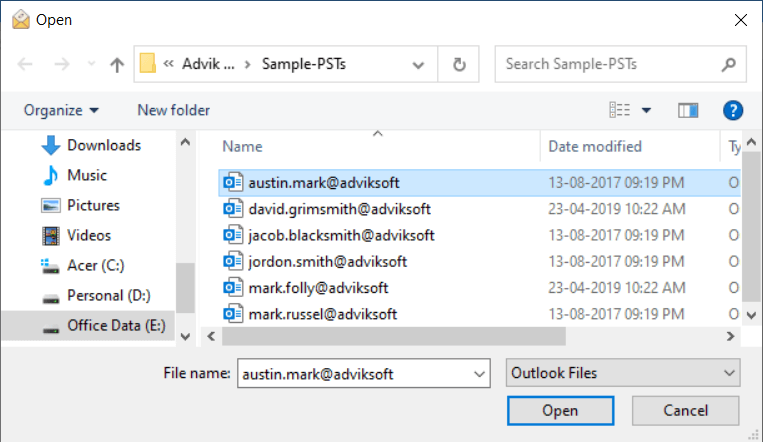 import pst to excel