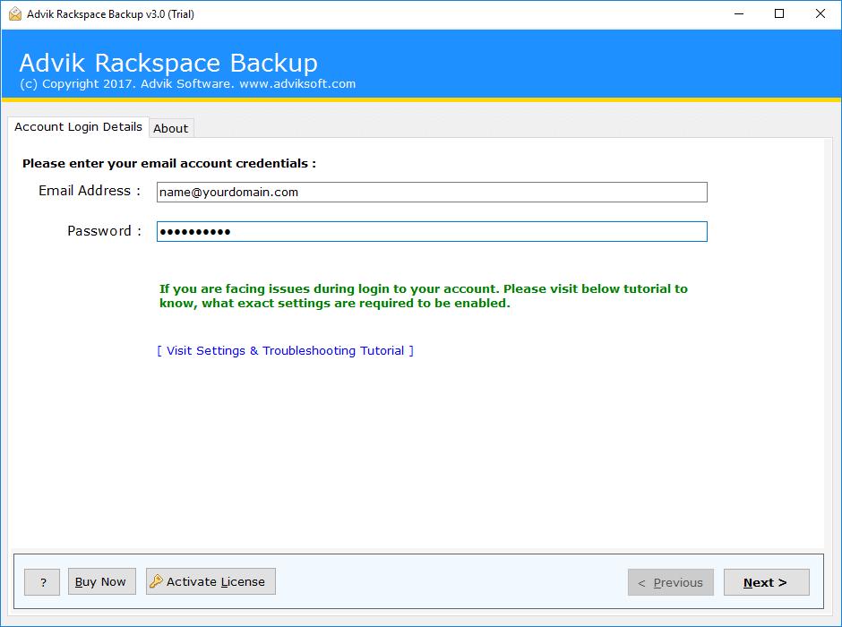 rackspace to exchange online
