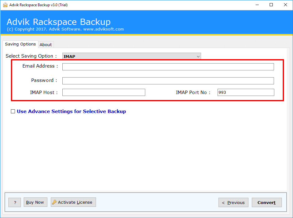 rackspace mailbox to exchange server