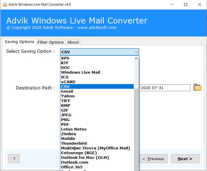 windows live mail to csv converter