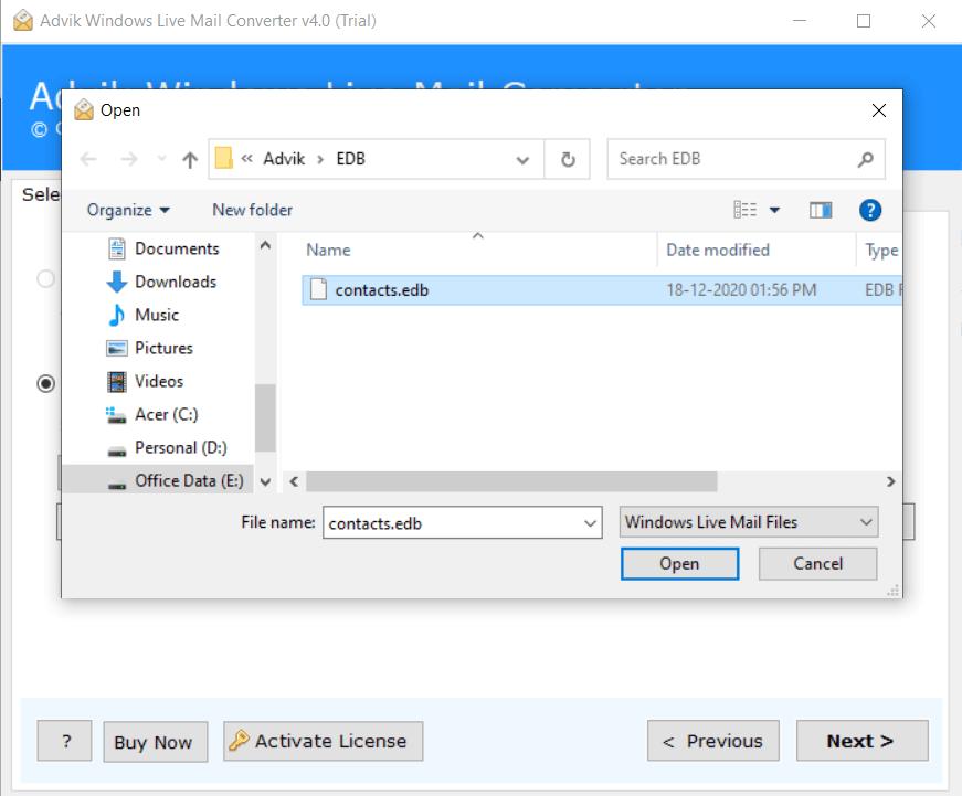 import contacts.edb to thunderbird