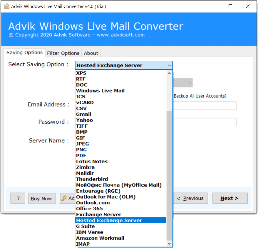 migrate windows live mail emails to hosted exchange