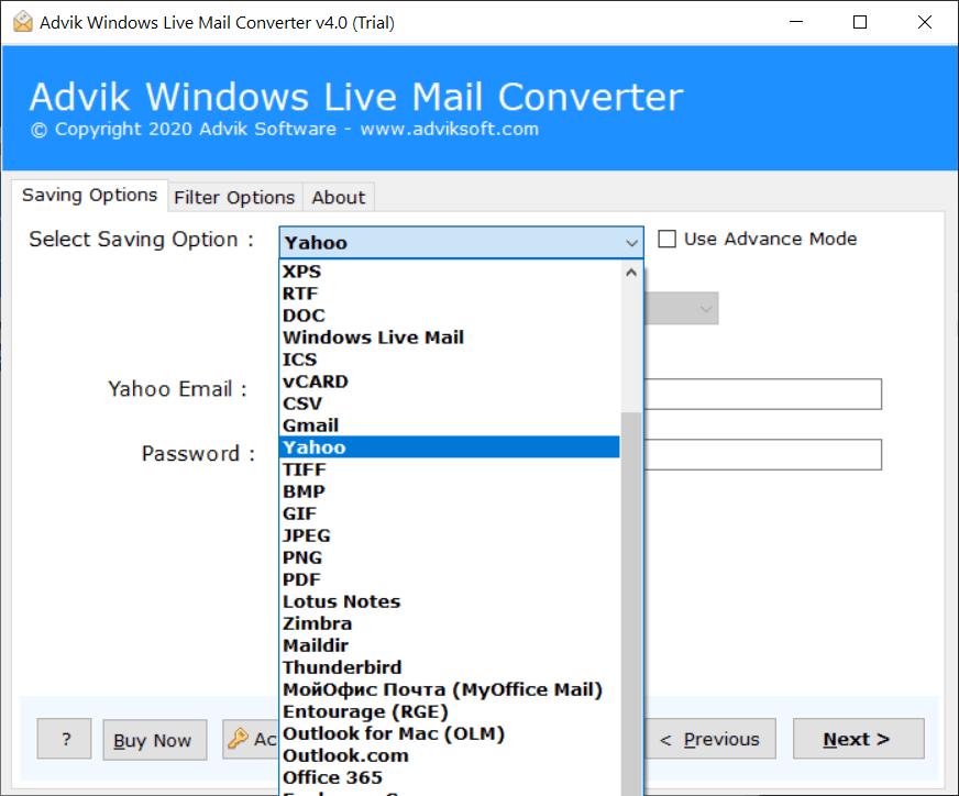 windows live mail into yahoo