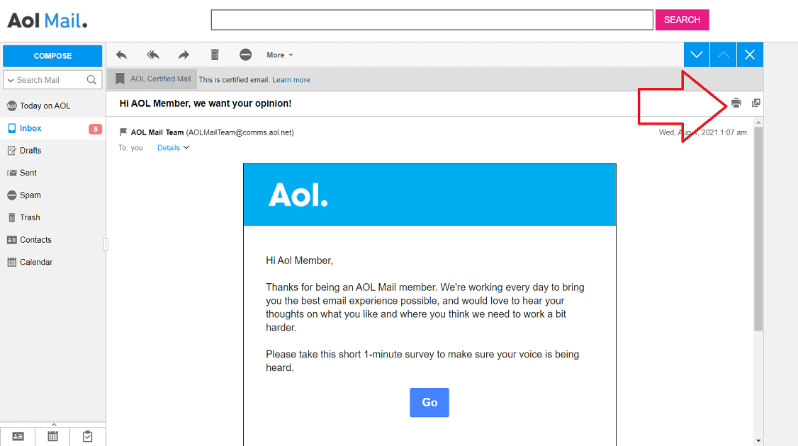 save aol email to computer