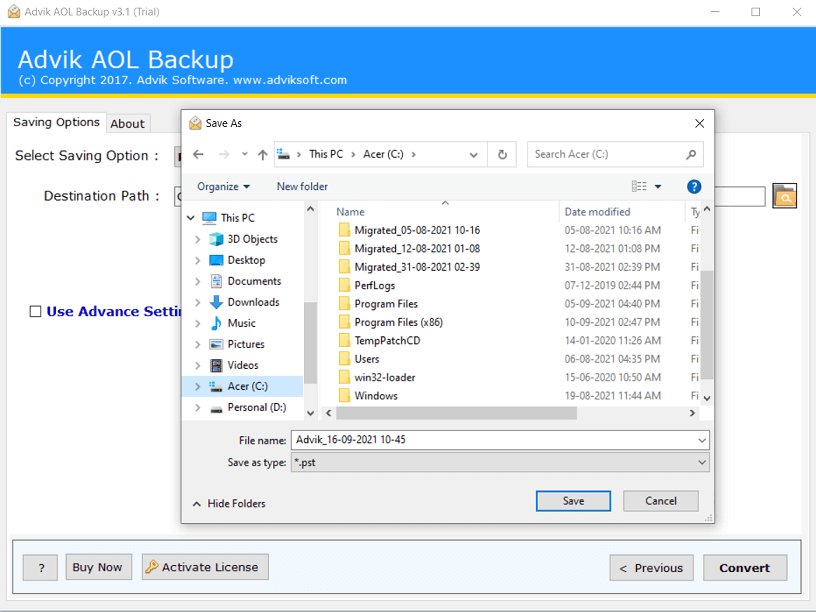 export aol mail to computer
