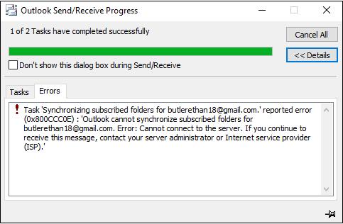 Fix Outlook Error 0X800CCC0E