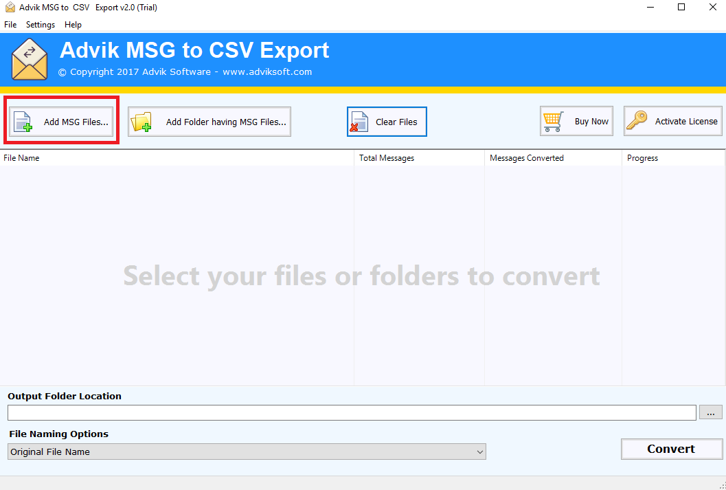 msg to csv converter