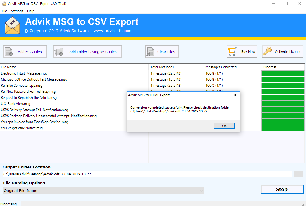 msg to csv converter free