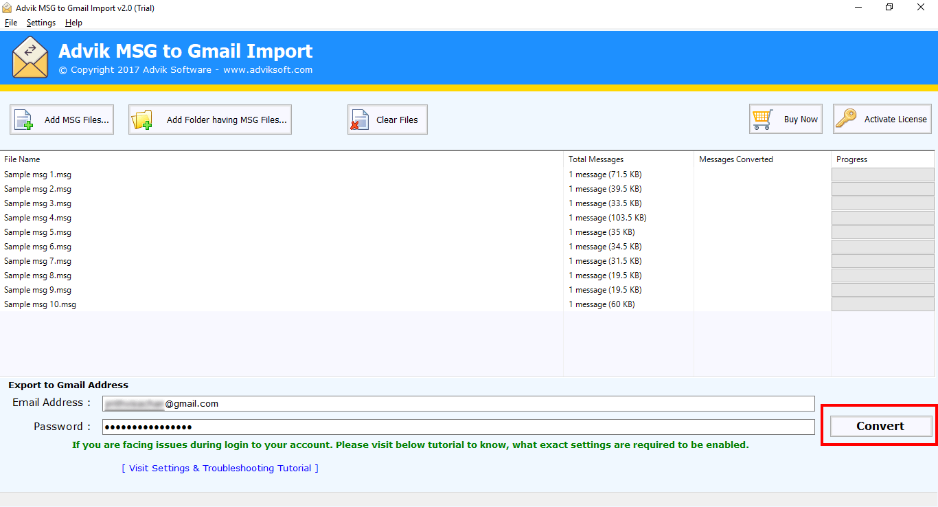 import msg file to gmail