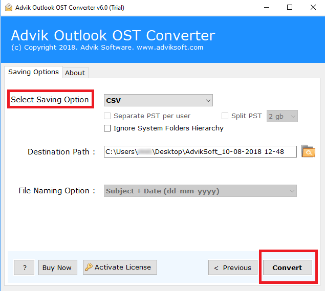 convert ost file to csv